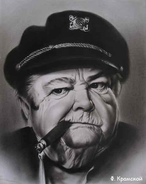 Портрет сухая кисть мужской портрет
